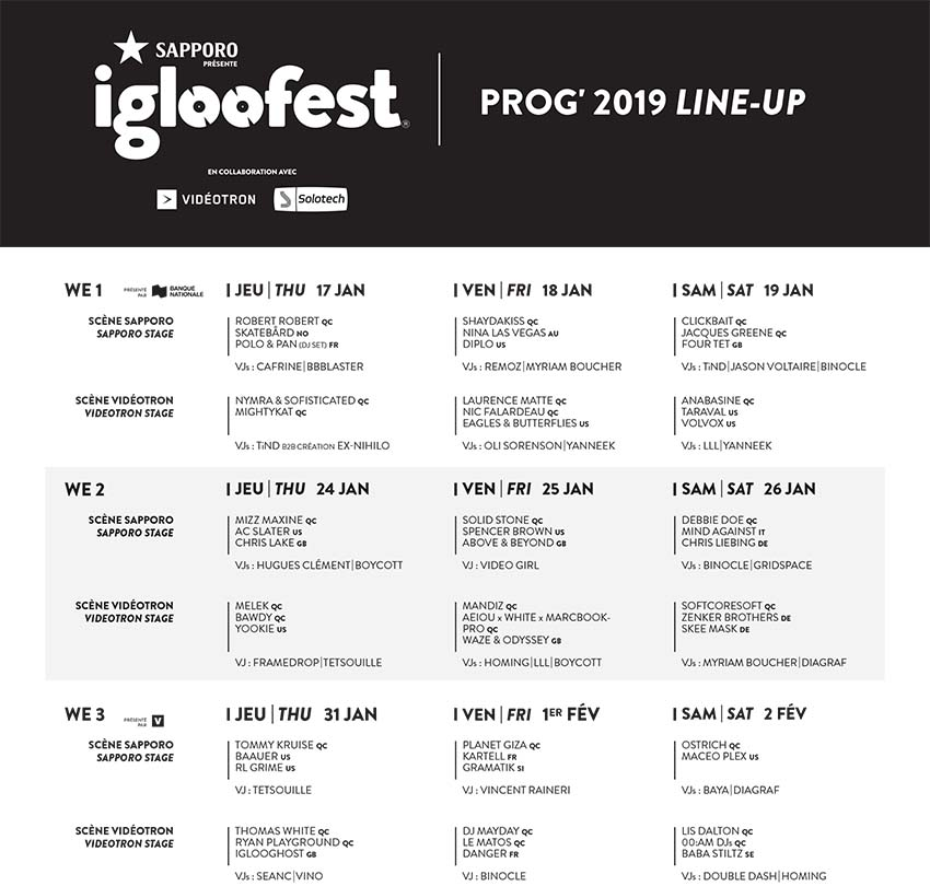 Igloofest 2019 programmation